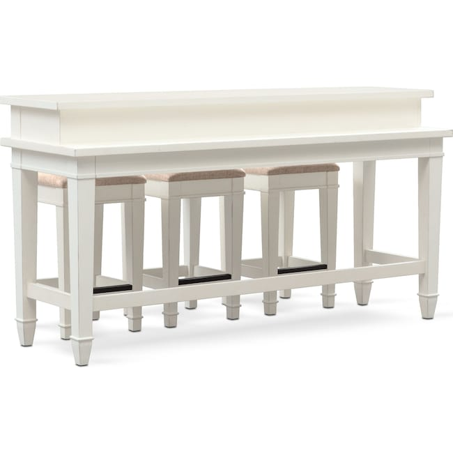 Accent and Occasional Furniture - Waverly Sofa Table and 3 Stools