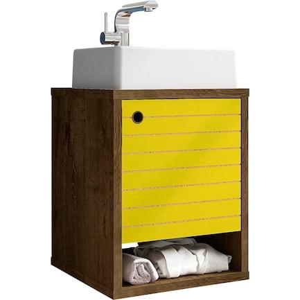 """Webb Float 18"""" Bathroom Vanity-Brown/Yellow"""