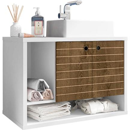 """Webb Float 32"""" Bathroom Vanity-White/Brown"""