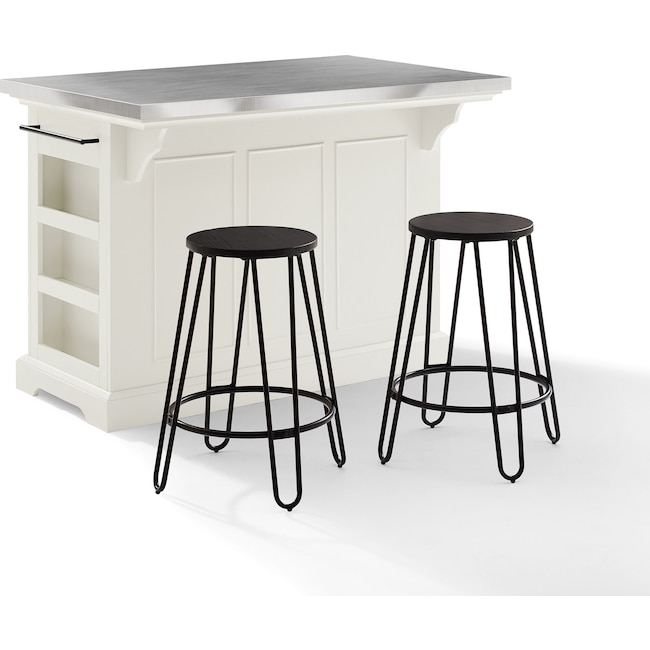 Dining Room Furniture - Wells Kitchen Island and Set of 2 Sami Stools