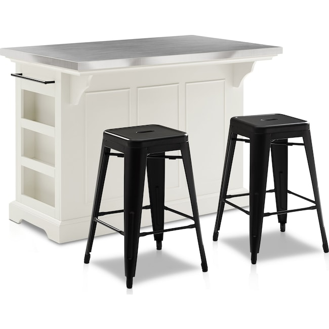 Dining Room Furniture - Wells Kitchen Island and Set of 2 Tori Stools
