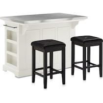 wells white kitchen island set