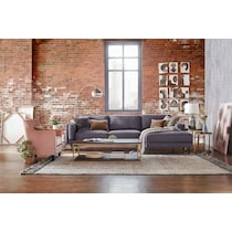 west end gray  pc sectional with right facing chaise
