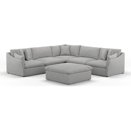 Westport Core Comfort 5-Piece Sectional with Ottoman - Dudley Gray