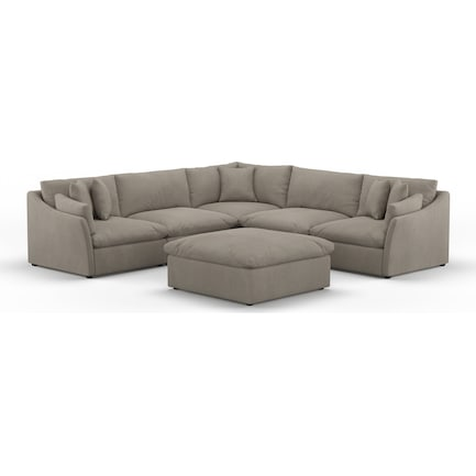 Westport Core Comfort Performance Fabric 5-Piece Sectional with Ottoman - Benavento Dove
