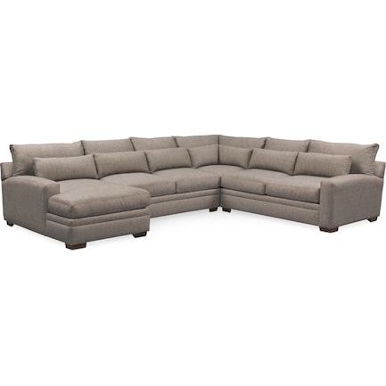 Winston Hybrid Comfort 4-Piece Sectional with Left-Facing Chaise - Gray